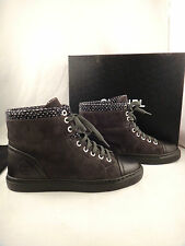 NIB Chanel 15A Grey Black Suede Tweed High Top Lace Up Sneaker Shoe Boot 35 $950