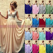 Hot Sequins Long Chiffon Wedding Party Evening Bridesmaid Dress UK Size 6+++++18