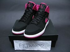 NIKE GIRLS AIR JORDAN 1 RETRO HI BLACK/VIVID PINK/WHITE 332148-008