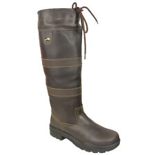 ADULTS HKM WATERPROOF SOLE LONG RIDING WALKING STABLE LEATHER COUNTRY BOOTS 3-10