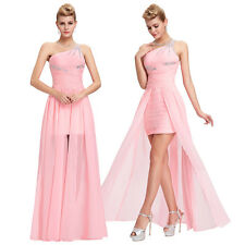 Beaded One Shoulder Wedding Bridesmaid Formal Gown Ball Party Evening Prom Dress