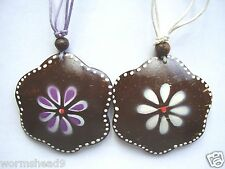 Painted flower coco wood pendant cord necklace Fair Trade - choose colour