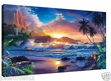 Home Deco Oil Painting HD Print On Canvas Modern Deco,Sunset Beach 24X36inch