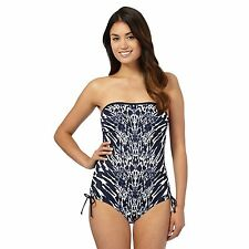 Beach Collection Womens Navy Animal Print Tummy Control Bandeau Swimsuit