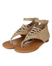 Qupid New Agency-312X New Women Suede Thong Elastic Lace Ankle Strap Flat Sandal