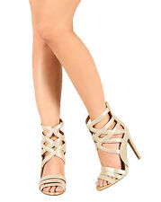 Qupid Interest-80 New Women Metallic Fabric Scallop Strap Open Toe Sandal Heel