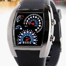 Men-watches Fashion RPM Turbo Blue & White Flash LED Car Speed Meter Dial Watch