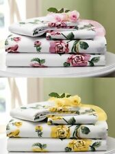 Pink Yellow Rose Garden Springtime Floral Microfiber Sheet Set Twin