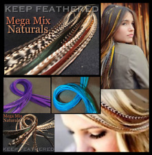 Feather Hair Extensions Naturals Grizzly Long Mega Mix Natural Pack 32+ 2pc Free