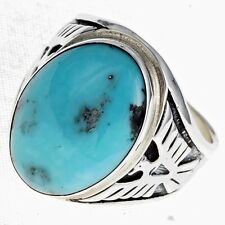 Sterling Silver Turquoise Mens Ring, Eagle Design, Navajo-Made FREE SHIPPING