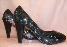 NEW SIZE 3 36 BLACK SILVER SEQUIN MID HEEL PARTY COURT SHOES MATCHING BAG EXTRA