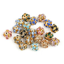 Lots 20 pcs  10mm Rhinestone Crystal Ball Spacer Loose Disco Beads Findings