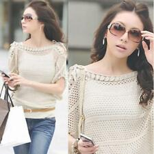 New Women Knitted Sweater Hollow Out Strapless Pullover Baggy Coat Knitwear Tops