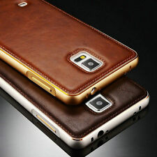 Luxury Leather Back Case Aluminum Metal Bumper Cover For Samsung Galaxy iPhone