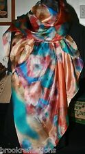 100% Silk Scarf/175x110cm-Exquizite/Handmade*Silk-Art Abstract Colorful designBR