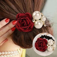 Womens Grail Ribbon Rose Flower Faux Pearls Hairband Ponytail Holder Hair Band