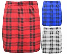 NEW LADIES WOMENS TARTAN PRINT STRETCH ELASTICATED JERSY SHORT MINI SKIRT
