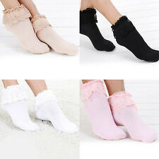 Vintage Lace Ruffle Frilly Ankle Cotton Socks Candy Color Ladies Pin-Up Socks