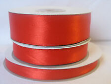 Full 50m reel red double sided satin ribbon 3 10 16 & 25mm crafts cards wedding