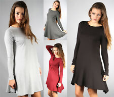 New Womens Ladies Long Sleeve Plain Stretch Swing Dress Size 8-14