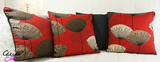 Sanderson Dandelion Clocks Cushion Covers Red, Black, Cotton 16x16 piped Retro