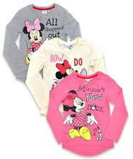 NEW Official Disney Minnie Mouse Girls Cute Pink, Grey or Cream Long Sleeve Top
