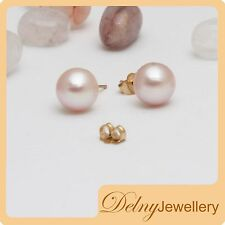 Brand New 14K Yellow Gold Pink Freshwater Pearl Stud Earrings Delny