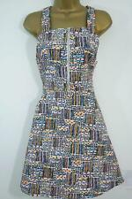 URBAN OUTFITTERS PINAFORE DRESS SIZE XS S M 8 10 12 RETRO PRINT ZIP FRONT SKATER