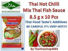 HOT THAI CHILLI Mix Thai FISH SAUCE 7g. for SPICY Cooking & Dip (HALAL) x 10Pcs.