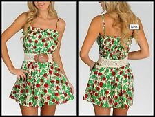GREEN RED FLORAL VINTAGE BELTED BOHO CHIC MINI SUN SUNDRESS DRESS M L