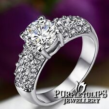 18K White Gold GP Bridal 1.5 carat Round Cut Ring W/ Genuine Swarovski Crystals