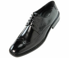 Steven Land Black Classic Perforated Wingtip Genuine Leather Oxford SLNY507-000