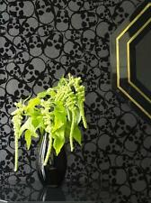BIBA 'SKULLS' Real Flock BLACK MOTIF Wallpaper BARBARA HULANICKI