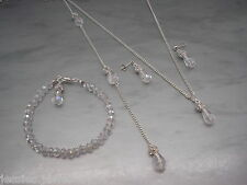 v34d Teardrop Crystal & Diamante Backdrop Necklace Bracelet Earrings Silver Gold
