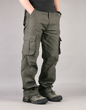 New Men's Military Mid-rised Velvet Thick Cargo Pants Fatigue  Trousers Black