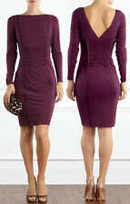 COAST NOLITA PURPLE RUCHED LONG SLEEVED SILKY WIGGLE DRESS TWICE 12 £115
