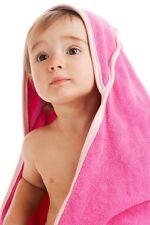 Double Ply Terry Hooded Baby Toddler Towel Washcloth Bath Set Solid Large