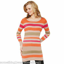 SOUTH SUPERSOFT CREW NECK TUNIC TOP  PINK STRIPE MIX  UK 10 & 12  RRP £22.00