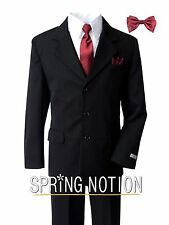 Boys Pinstripe Black Suit with Matching Red Tie and Bow Tie