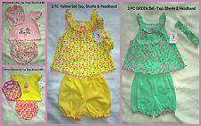 NWT Infant Baby Girls 3 Piece Outfit Top, Shorts and Bib or Headband Super Cute!