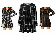 New Womens Long Sleeve Butterfly & Grid Check Print Ladies Swing Dress Size 8-22
