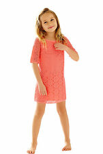 New Lilly Pulitzer Kids Girl's Little Topanga Dress Island CORAL Breakers Lace S