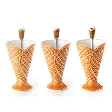 Ice cream Waffle Cone Ceramic Bowl Cup & Stainless Steel Spoon Set