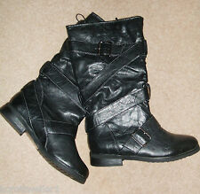 NEW RRP £30 EVIE SIZE 3 36 BLACK FAUX LEATHER FLAT BIKER RIDING STYLE BOOTS