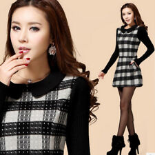 Elegant Womens Autumn Winter Grid Peter Pan Collar Long Sleeve Woolen Mini Dress