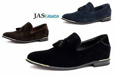 Mens Leather Lined Slip On Casual Suede Loafers Driving Shoes Tassel Design NEW