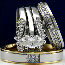 White Gold Plated 0.9ct Engagement Wedding Woman's 0.01ct Bridal Man's Ring Set