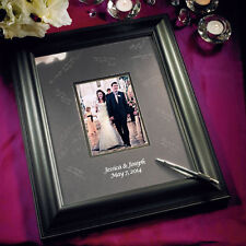 Black Etched Signature Board Framed Photo Wedding Guest Book Q16022
