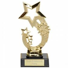 Curve Star Gold Trophy Cup in 3 Sizes with free engraving up to 30 Letters