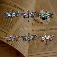 Retro Vintage Bronze Dragonfly Crystal Long Chain Sweater Necklace Pendant E2H9